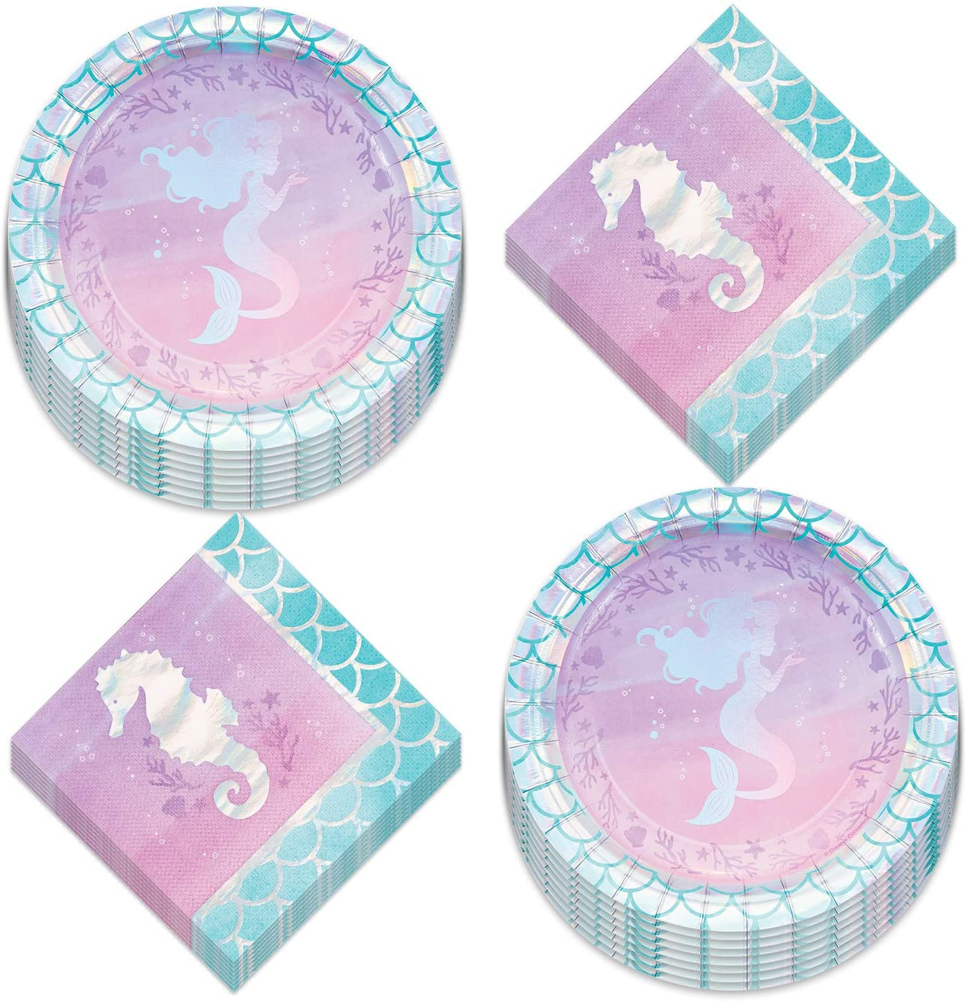 Mermaid Shine Party Supplies - Metallic Mermaid Paper Dessert Plates and Beverage Napkins (Serves 16)