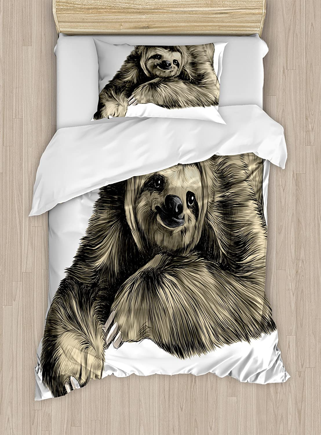 Ambesonne Sloth Duvet Cover Set, Sweetly Smiling Jungle Animals Lying Down with Crossed Legs Tropic Fauna Sketch, Decorative 2 Piece Bedding Set with 1 Pillow Sham, Twin Size, Black Ivory