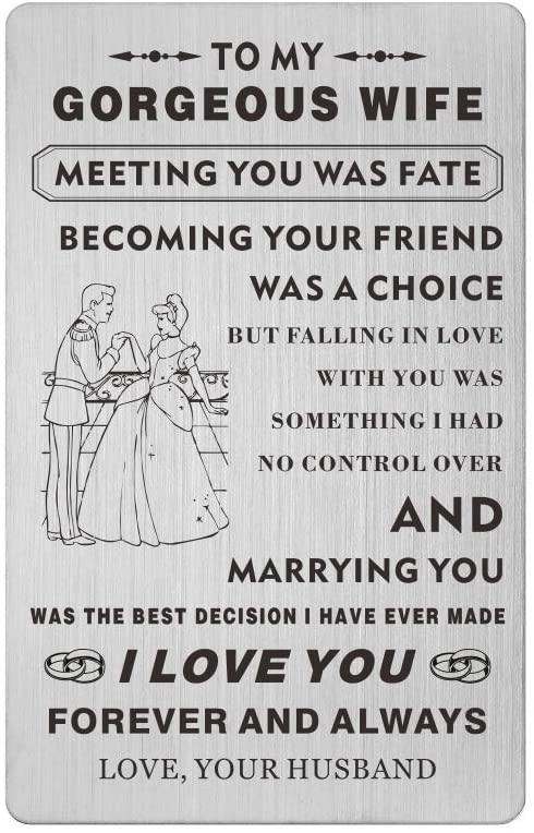 Wedding Anniversary Cards for Wife from Husband,Mini Love Note Bride Gift, Women Her Engraved Wallet Card Insert Gifts