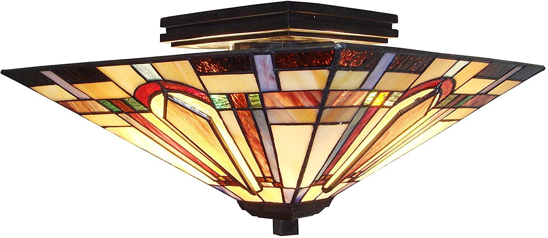 Fine Art Lighting Tiffany Semi-Flush lamp, Multi Color