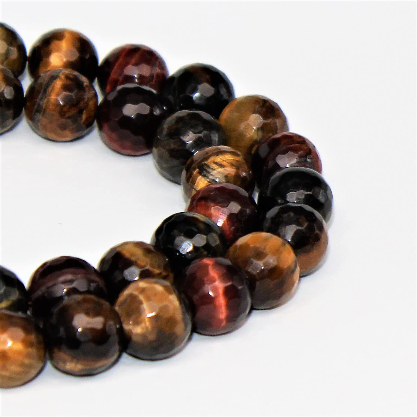 Lynxus Faceted Multi Color Tigers Eye Gemstone Loose Beads 10mm 37 Beads Per 15.5 Strand