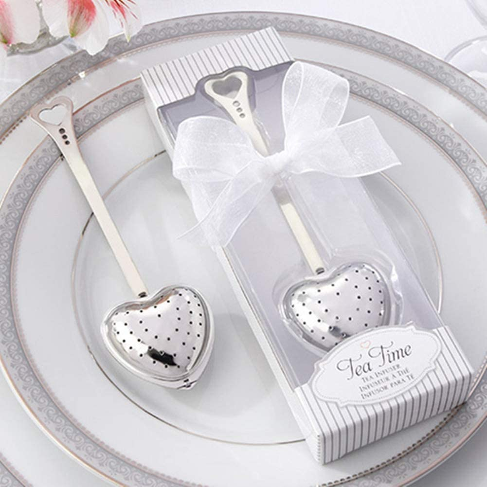 WERSOLUTION Stainless Steel Heart Shape Tea Filters Strainers Wedding Favours Birthday Party Favour Tea Party Gift for Guests (20pcs)