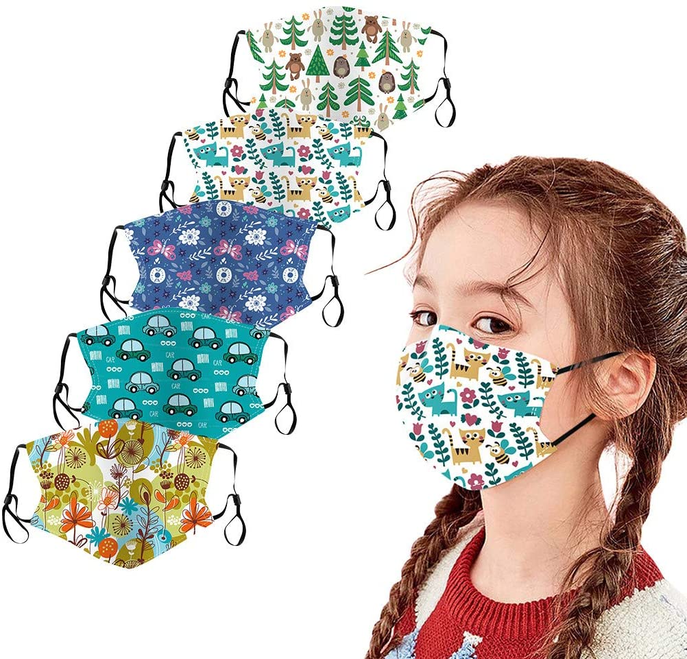 5PC Kids Face_Masks, Children Reusable Outdoor Ice Cotton Mouth Dustproof Face Bandana