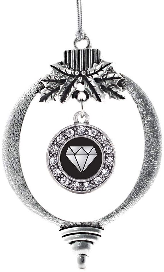 Inspired Silver - Diamond Charm Ornament - Silver Circle Charm Holiday Ornaments with Cubic Zirconia Jewelry