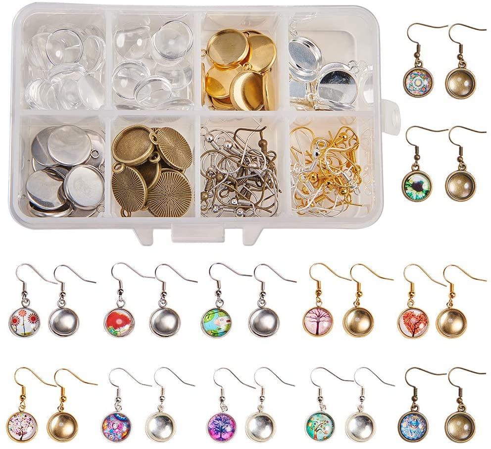 SUNNYCLUE 1 Box DIY 20 Pairs Cabochon Earrings Making Kit 40pcs Earring Bezel Earring Settings with 40pcs 12mm Clear Glass Cabochons, Earring Hooks(Dangle Earrings, 4 Color)