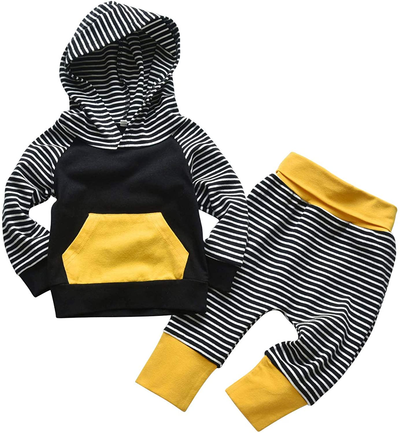 Toddler Infant Baby Boy Clothes Striped Long Sleeve Hoodie Tops Sweatsuit Pants Outfit Set