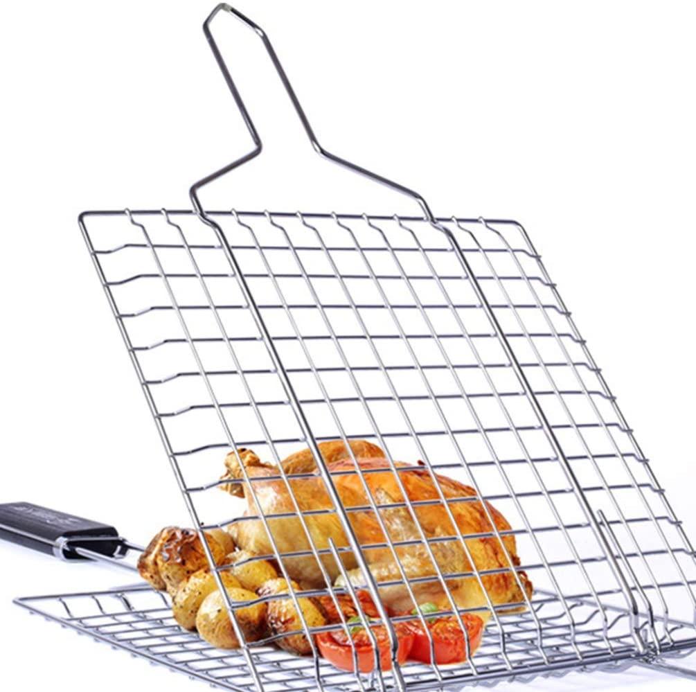 LIOOBO BBQ Grilling Basket 1 pc Portable 430 Stainless Steel Portable BBQ Grilling Basket for Fish Vegetable Steak Shrimp for Outdoor Indoor BBQ Picnic