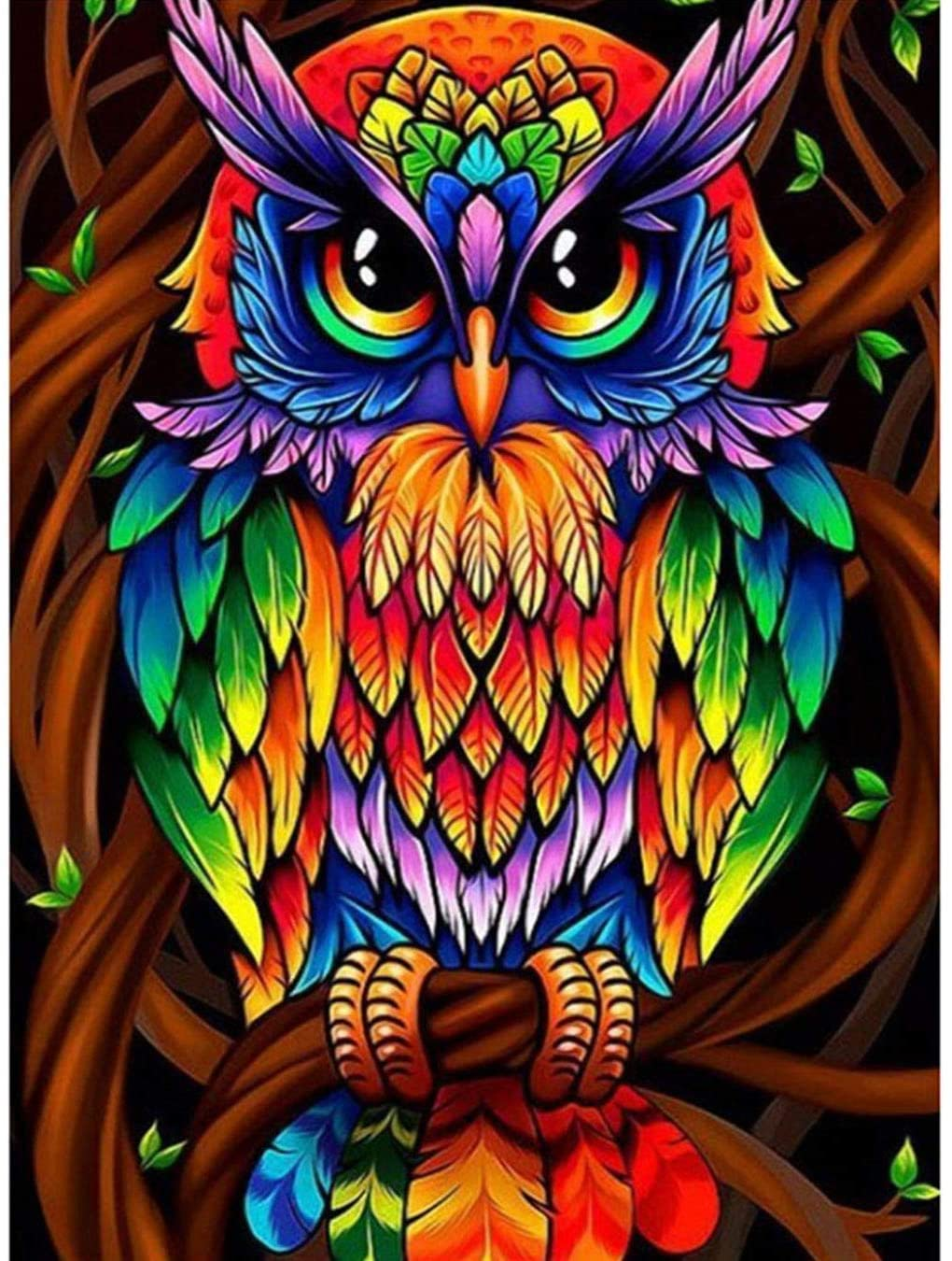 5D Diamond Painting by Number Kits, Colorful Owl Full Drill Embroidery Cross Stitch Arts Craft Wall Sticker Decor