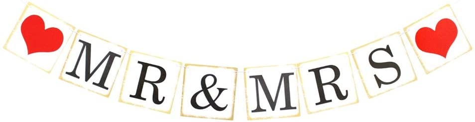 Mr & Mrs Party Banner,Bunting Banner Red Heart for Wedding Bridal Shower Decoration