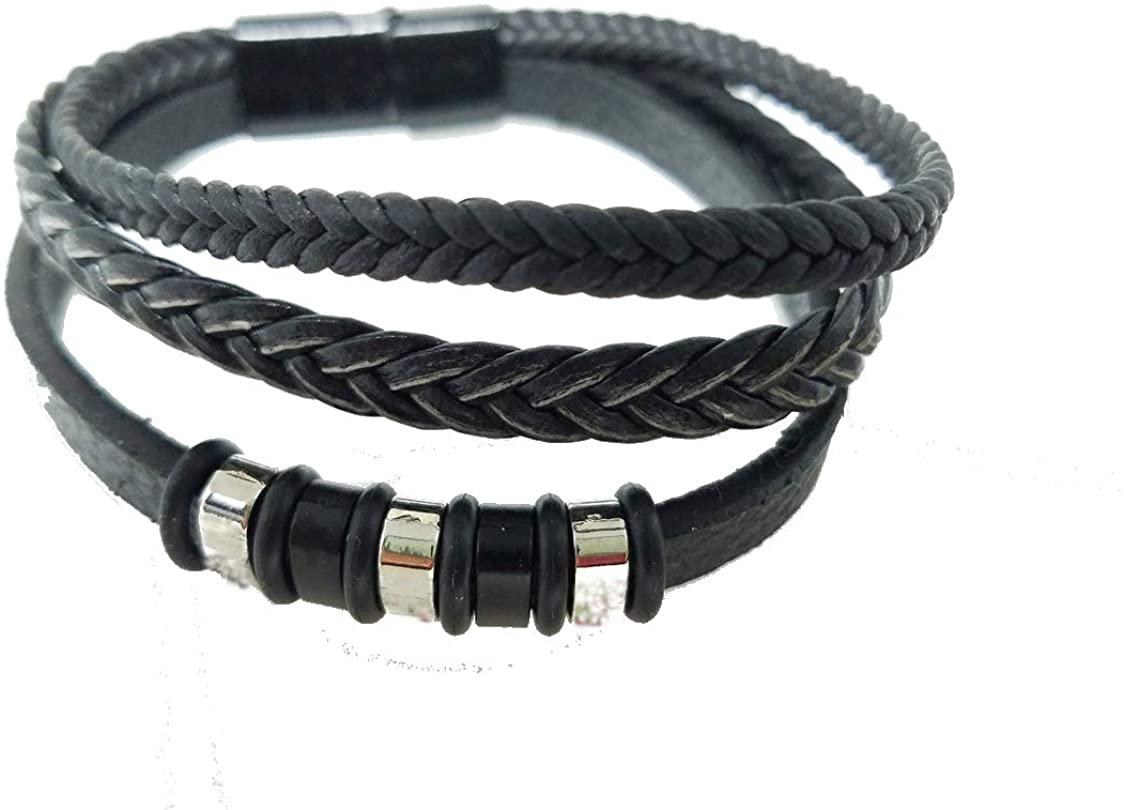 Black Braided Leather Bracelet for Men, 8.5 Inch