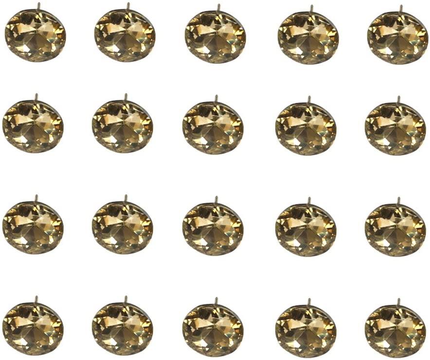 Ewead,25mm Dark Brown Diamond Stone Crystal Nail Button Sofa Headboard Decor Track 40pcs
