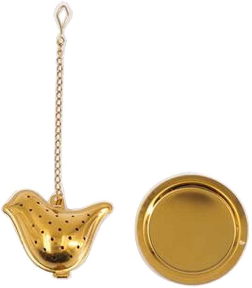 Alien Storehouse [Gold Bird] Creative Spice/Tea Ball Strainer Tea Filter with Drip Trays