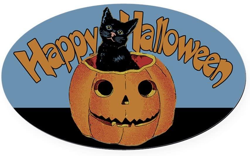 CafePress Vintage Halloween Cat in Pumpkin Oval Car Magnet, Euro Oval Magnetic Bumper Sticker