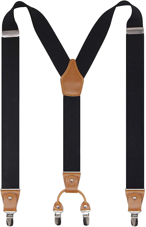 Cedrainy Mens Suspenders Genuine Leather 4 Strong Clips Adjustable Heavy Duty Y Shape Solid Braces Suspender