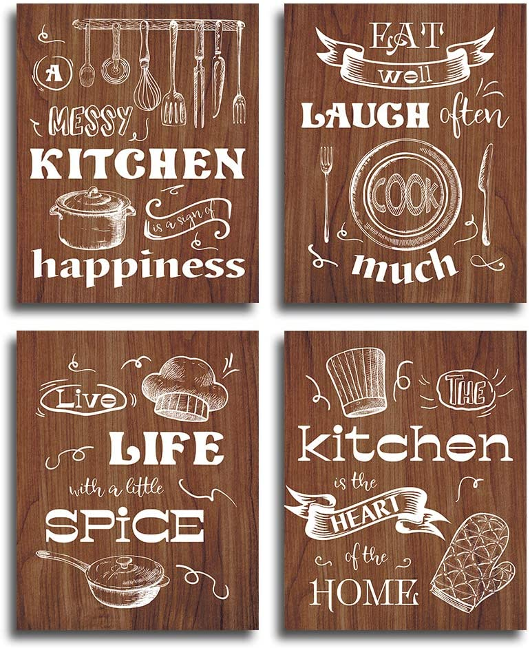 """HPNIUB Kitchen Art Print, Set of 4 (8""""X10""""), Kitchen Theme Canvas Poster, Funny Saying- Eat Well, Laugh Often, Live Life, Creative Cooker-Pan, Knife, Fork Wall Decoration for Kitchen Restaurant, No Frame."""