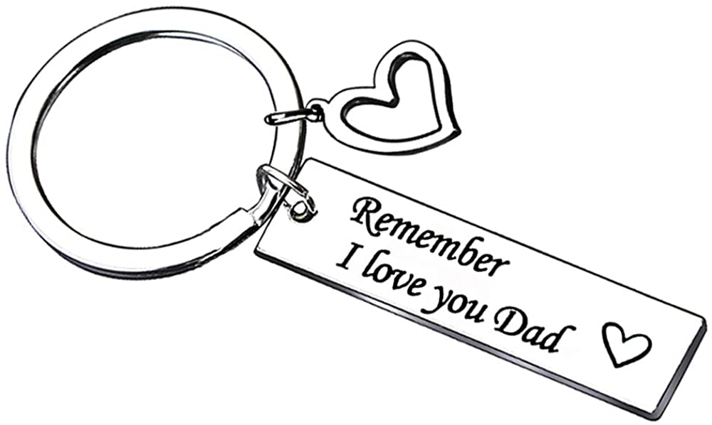 AMOR SPES Dad Key Chain Double Pendant Stainless Steel Key Ring for Men Remember I Love You Dad