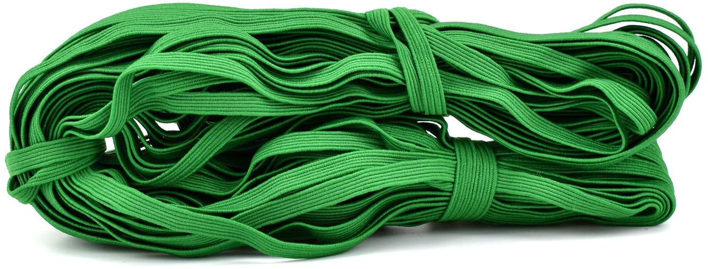 100FIXEO Elastic Band for Sewing 32.8Y Elastic String Sixteen Colors Heavy Stretch Elastic Band for Sewing Craft DIY for Face Mask (27# Green)