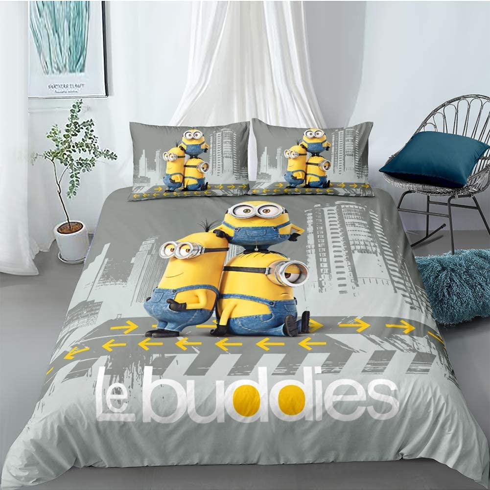 BGHN Minions Bed Set for Kids Despicable Me 3 Piece Duvet Cover Set, 1 Duvet Cover + 2 Pillowcase, Full Size