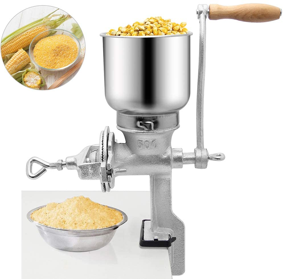 Moongiantgo Manual Corn Grain Grinder Mill Cast Iron Hand Crank Manual Coffee Grinder with Large Hopper for Bean Rice Coco Pepper Grains Nuts