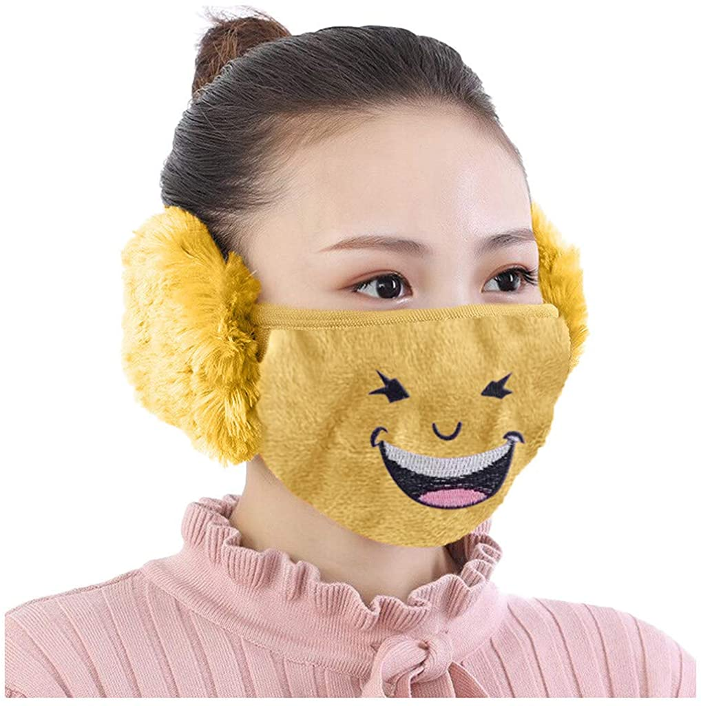 Winter Face_Mask for Women,Cold Weather Warmer with Fleece Earmuff, Half Face_Mask with Earflap for Outdoor