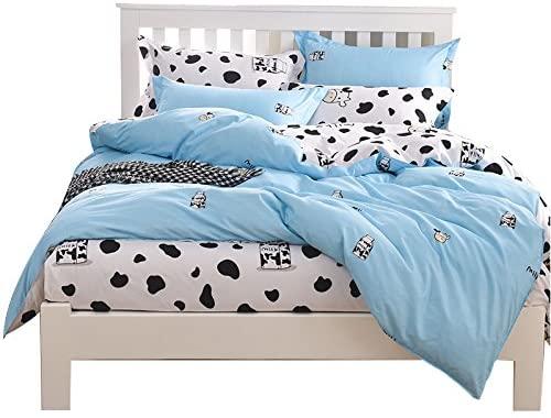 YOUSA Milk Cow Duvet Cover Set Cartoon Kids Bedding Set Queen