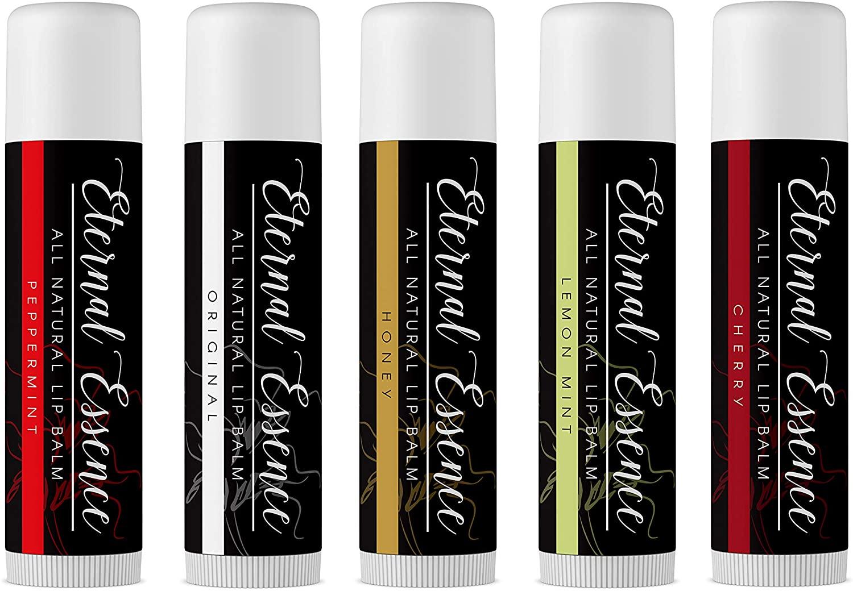 5 Pack - All Natural Coconut Oil Base Lip Balm - Original, Peppermint, Honey, Lemon Mint & Cherry