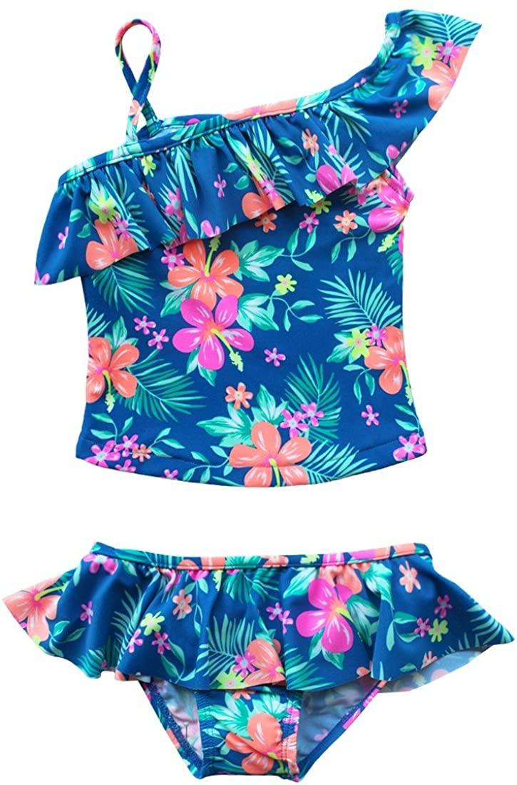 Alvivi Toddlers Girls Two Piece Tankini Swimsuit Hawaiian Ruffle Swimwear Bathing Sets