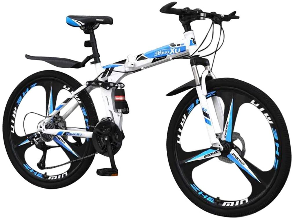 cobcob Mountain Bike, 21 Speed 26 inch Full Dual-Suspension Mountain Bike Aluminum and Steel Frame Bicycle Outdoor Cycling Dual Disc Brake for Men/Women