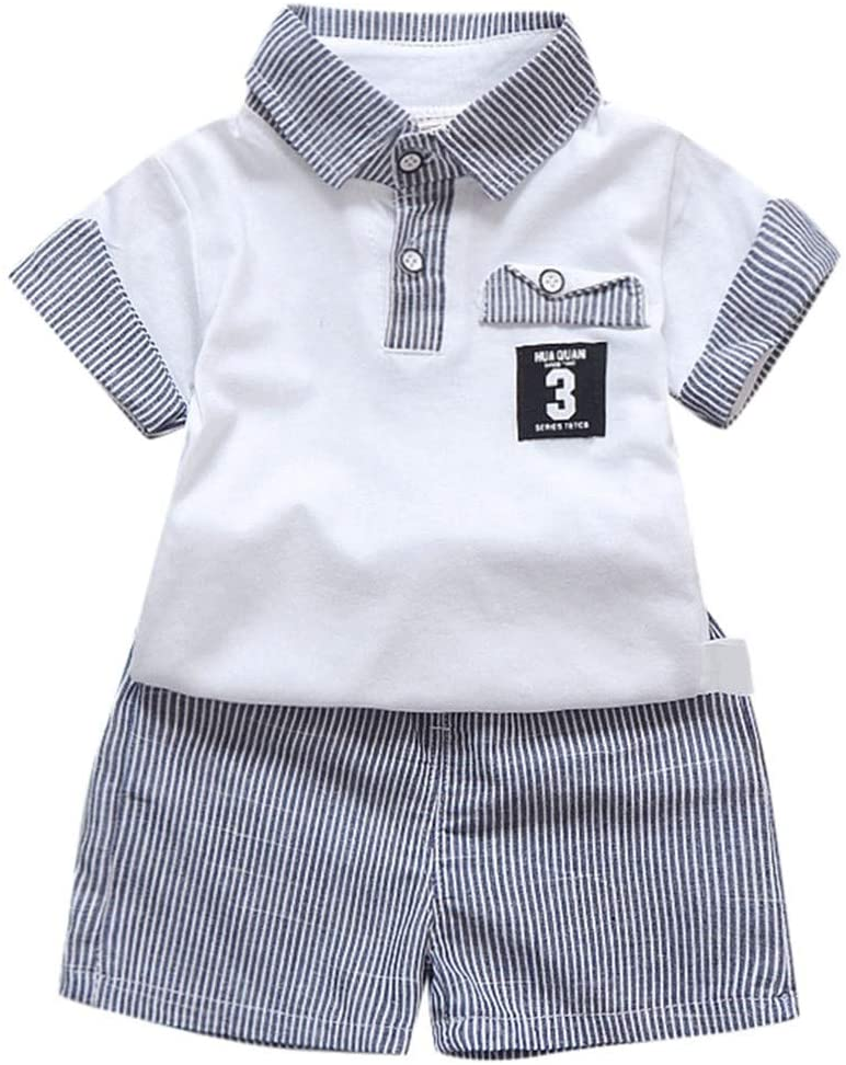 Boys Outfits&Set, Toddler Baby Boys Gentleman T-Shirt Tops Stripe Shorts Outfits Clothes Set, Clothing for Baby Kids