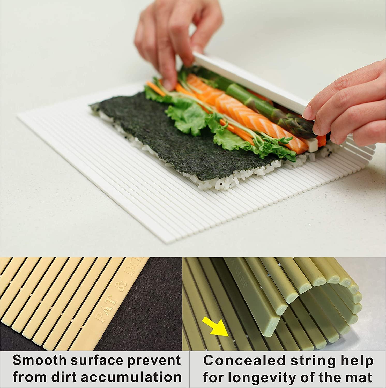 PAT & DORIS Non Stick Sushi Mat Plastic Sushi Rolling Mat Sushi Roller Sushi Making Kit 10.5