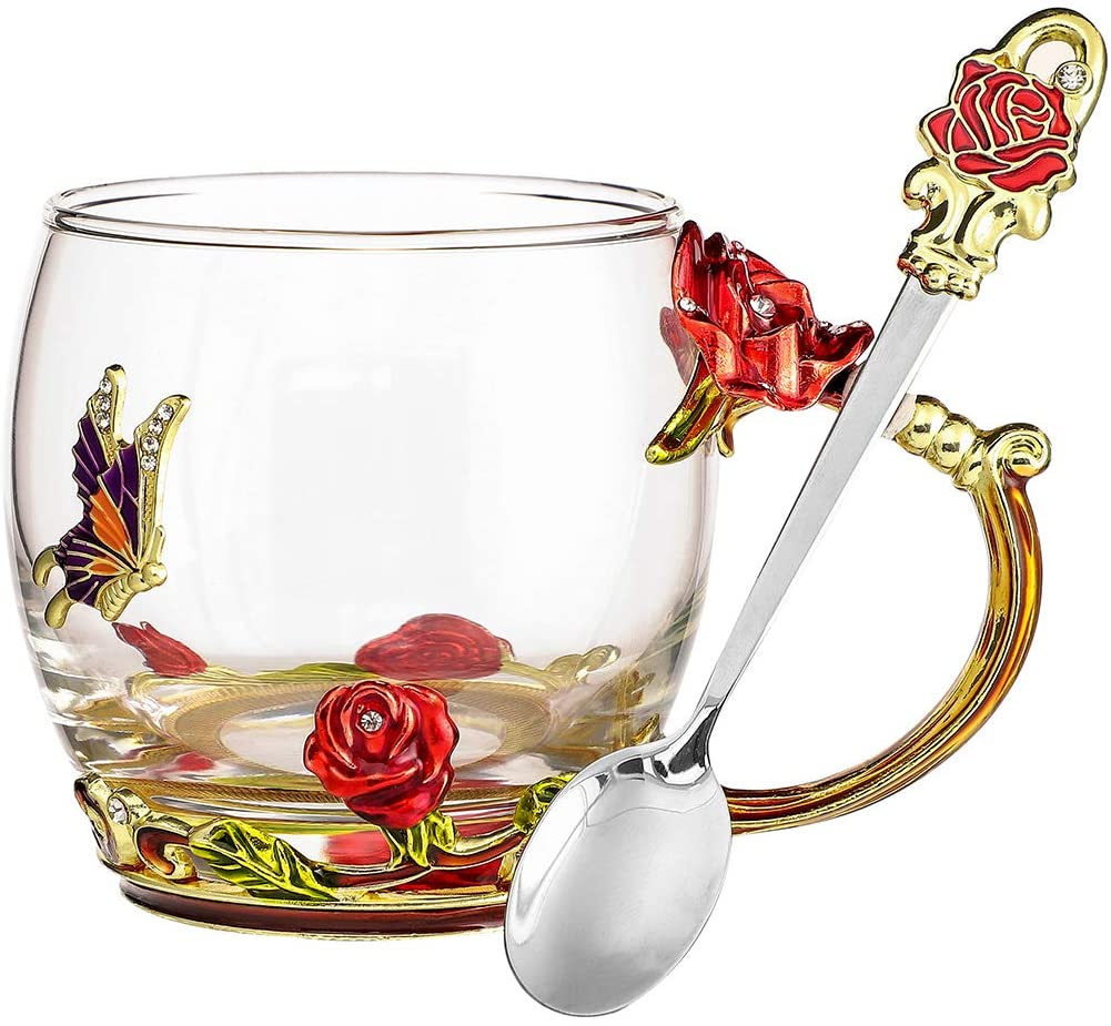 Flower Coffee Mug Glass Tea Cup, Hand Painted Flower Enamel Mugs, Unique Handmade Glass Cup with Handle, with Stainless Steel Spoon, Lead-free Hot Beverages Cups, Ideal Gift for Women (Red Rose-11oz)