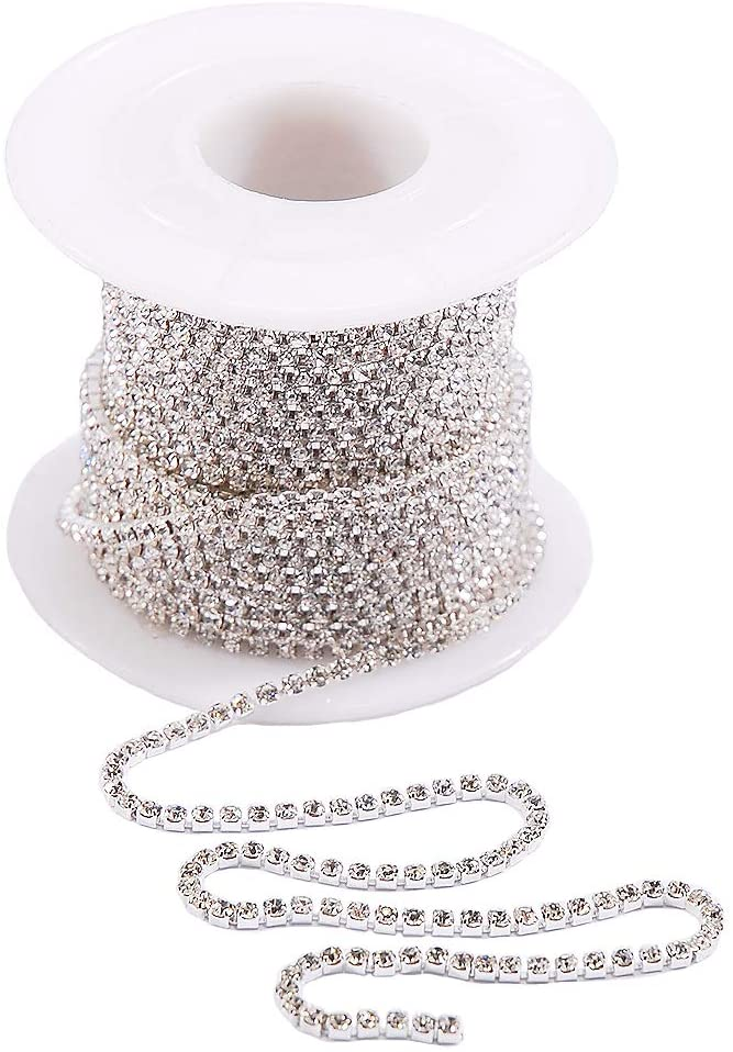 Hisenlee 10 Yards Rhinestone Chain SS6/2MM Crystal Glass Cup Chain for DIY Trim Sewing Craft (Silver Base White)