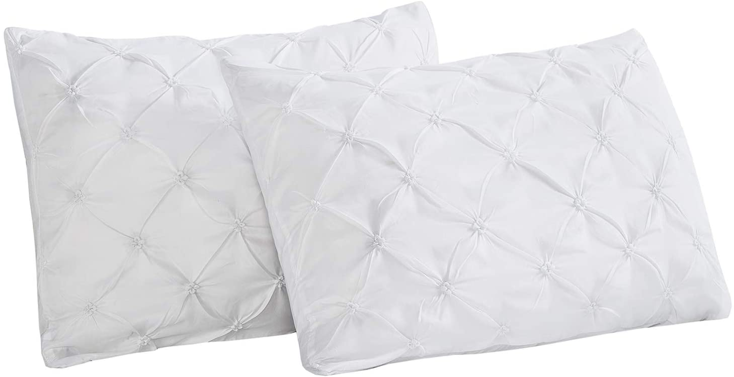 Vaulia Lightweight Soft Microfiber Pillow Shams, Pinch Pleat Design, King Size - White, Set of 2