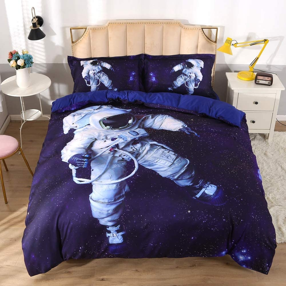 ENJOHOS Astronaut Bedding for Kids Twin Size Blue Galaxy Bed Set 3PCS Cool 3D Outer Space Duvet Cover Set for Boys and Girls