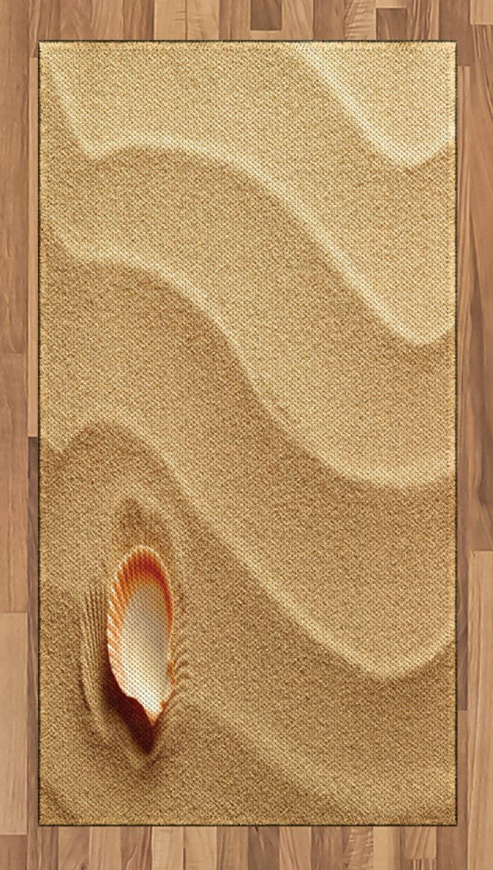 Ambesonne Seashells Area Rug, Little Seashell on Golden Yellow Sand Sea Coastal Theme Beach Art Print, Flat Woven Accent Rug for Living Room Bedroom Dining Room, 2.6' x 5', Sand Brown