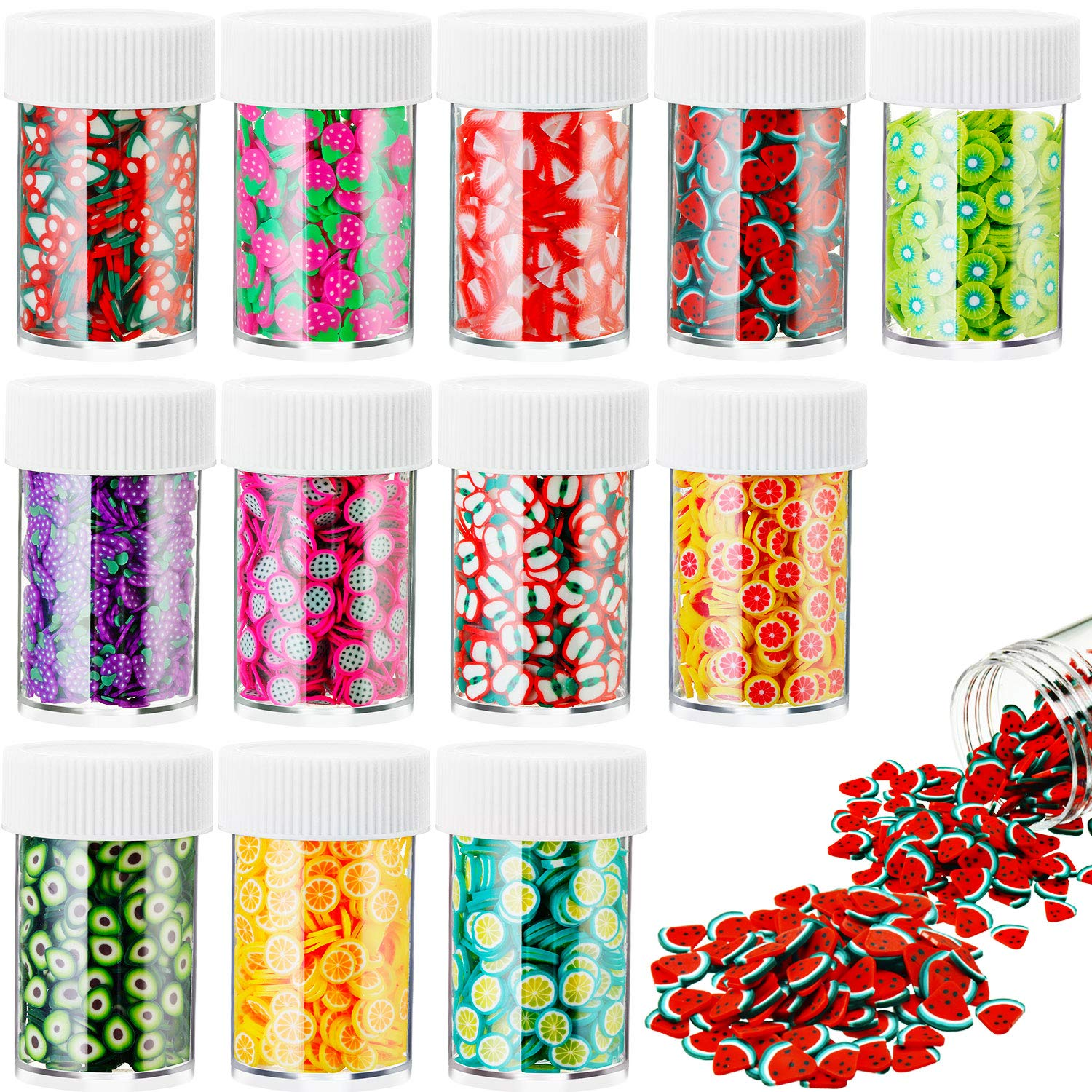 6000 Pieces Nail Art Fruit Slices 3D Polymer Assorted Pattern Nail Slices Colorful DIY Nail Art Slime Supplies for DIY Crafts Slime Making Cellphone Decorations, 12 Styles (Fruit Theme)