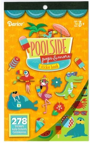 Darice 2 Books of - Poolside Pops & More - Mini Stickers (556 Total Stickers) Pool Fun Summer Treats ICE Cream Kid's Activity Craft Party Favors -Scrapbooking Party Project