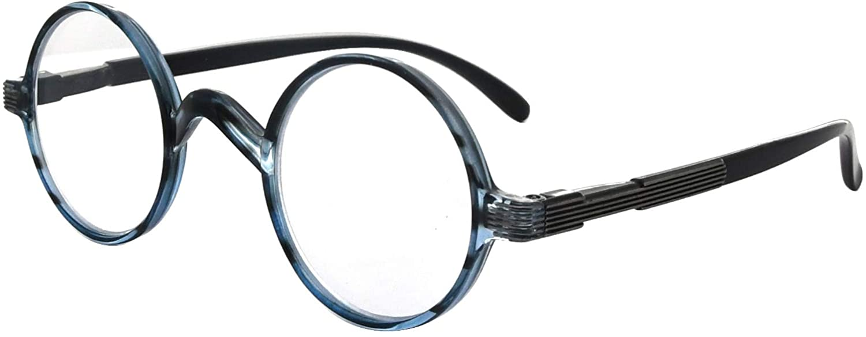Eyekepper Round Eyeglasses a Little Large Than Vintage Professor Oval Eyewear (Blue Stripe,+0.00)