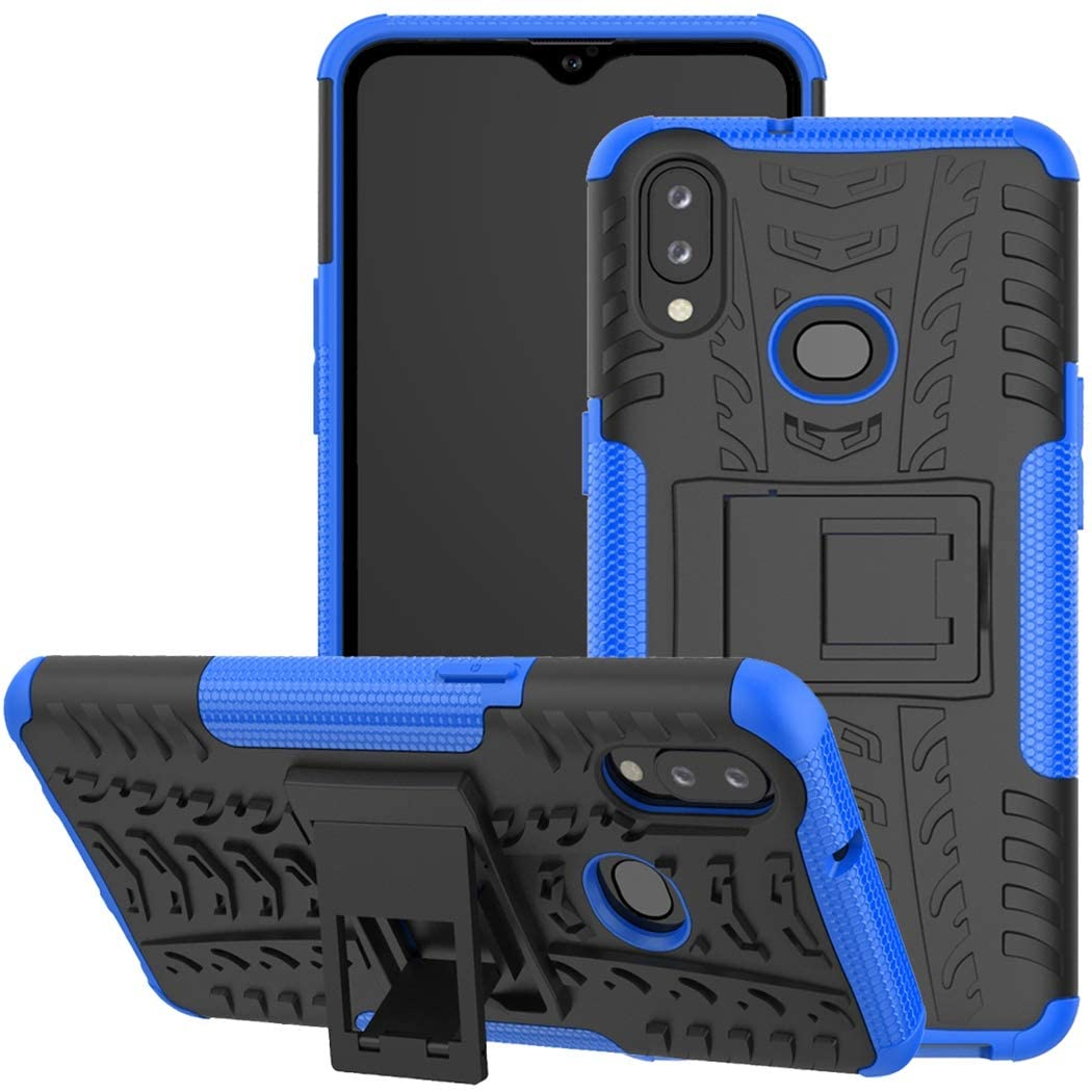 Yerebel Galaxy A10S Case, with Kickstand Hard PC Back Cover Soft TPU Dual Layer Protection Phone Cover for Samsung Galaxy A10S (Blue)