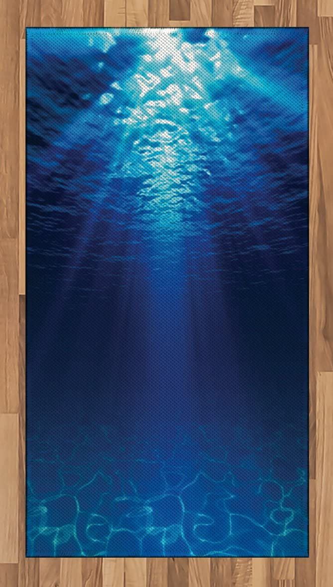 Ambesonne Ocean Area Rug, Underwater View Sandy Seabed Aquatic Scenes Sunbeams Nature Picture Print, Flat Woven Accent Rug for Living Room Bedroom Dining Room, 2.6' x 5', Navy Aqua