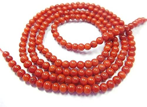 GemAbyss Beads Gemstone Natural Red Coral Gemstone 2.5-3 Mm Plain Round Beads 17 Inch Long Long Strand Round Beads, Gemstone Beads, Round Bead,Beads for Jewelry Code-MVG-43984
