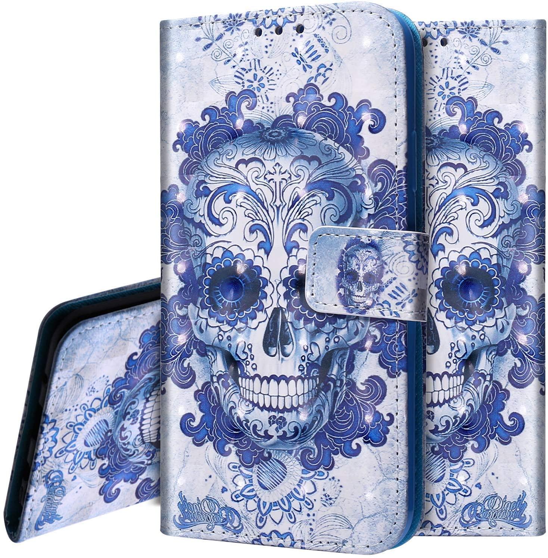PHEZEN Case LG K40 Wallet Case,LG Xpression Plus 2/LG Harmony 3/LG Solo LTE/LG K12 Plus/LG X4 2019 Case,3D Bling PU Leather Folio Flip Case Protective Phone Case Cover with Kickstand,Blue Skull