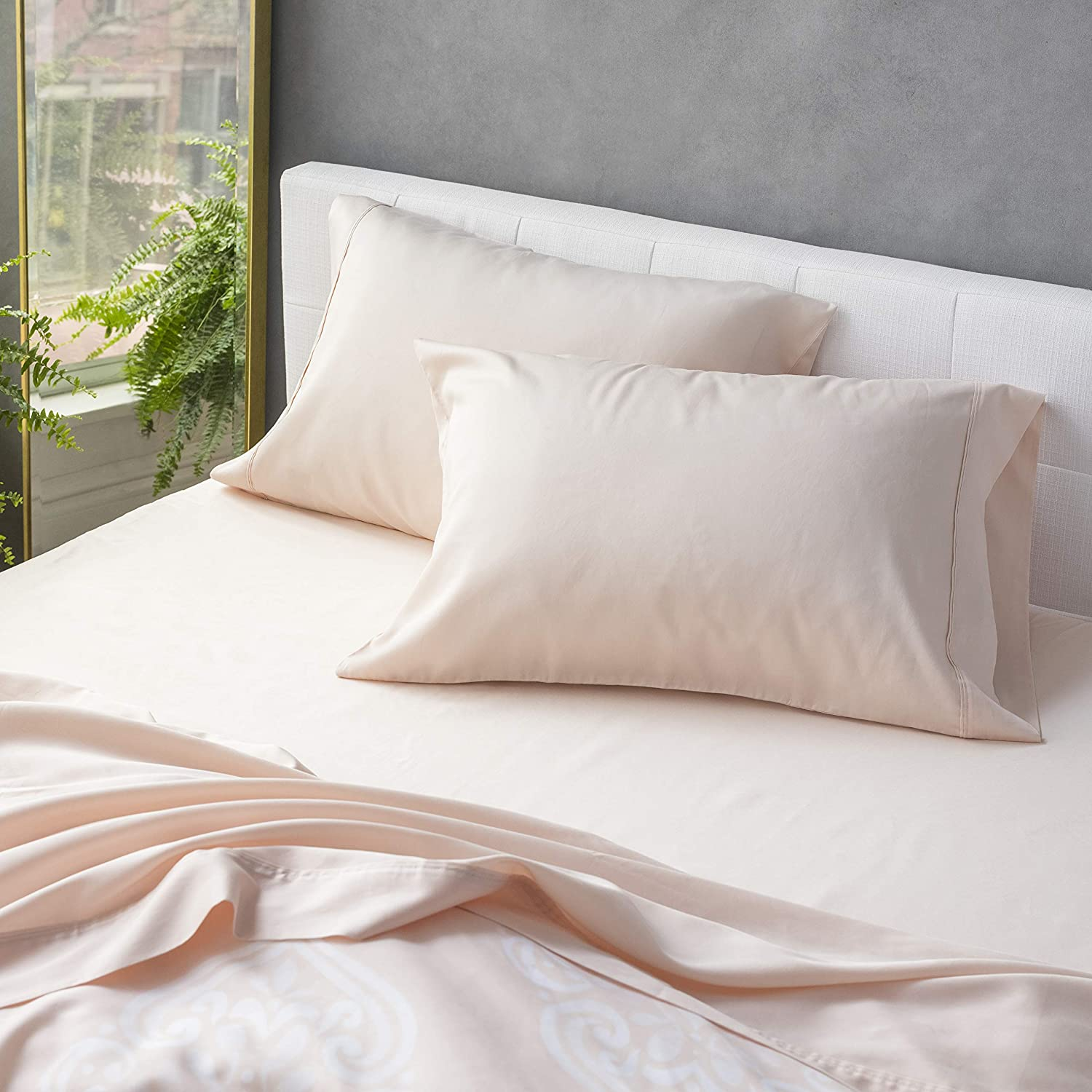 Welhome 300 Thread Count King Size Cotton Tencel Lyocell Sateen Sheet Set - 4 Piece - Supersoft & Smooth - Luxurious Feel - Sustainable - Breathable - Deep Pocket - Blush