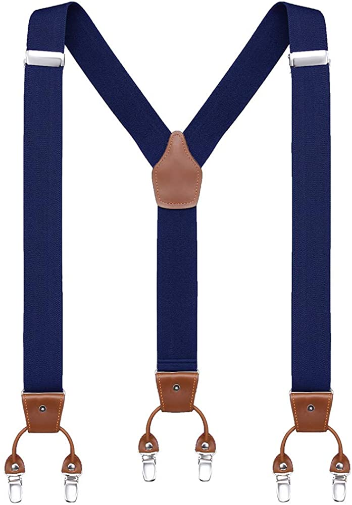 Calvertt Mens Dress Suspenders Genuine Leather 6 Clips Heavy Duty Suspender