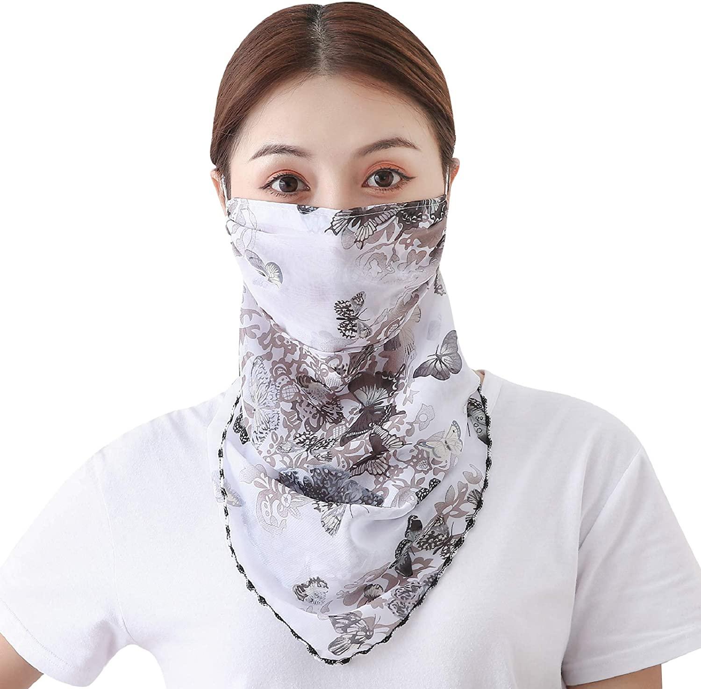Yusongirl Women's Silk Neck Gaiter Scarf Sun UV Protection Balaclava Anti-dust Face Cover Outdoor Protection Face Shield