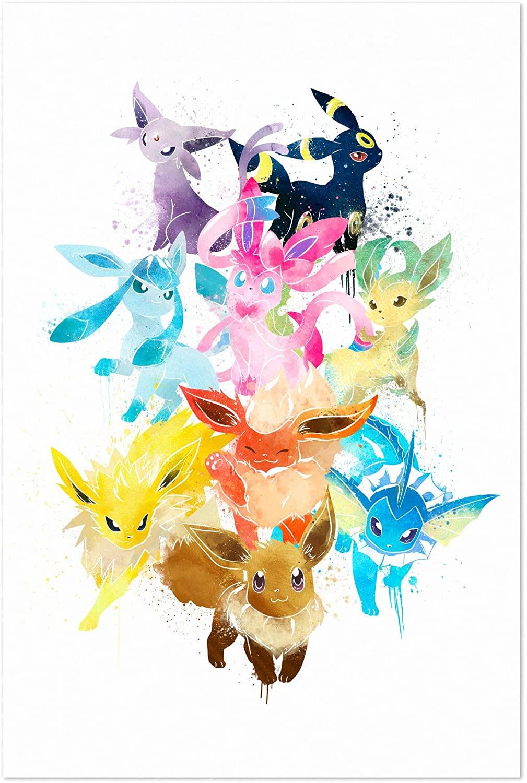 Noir Gallery Eevee Pokemon Painting 5 x 7 Unframed Art Print/Poster
