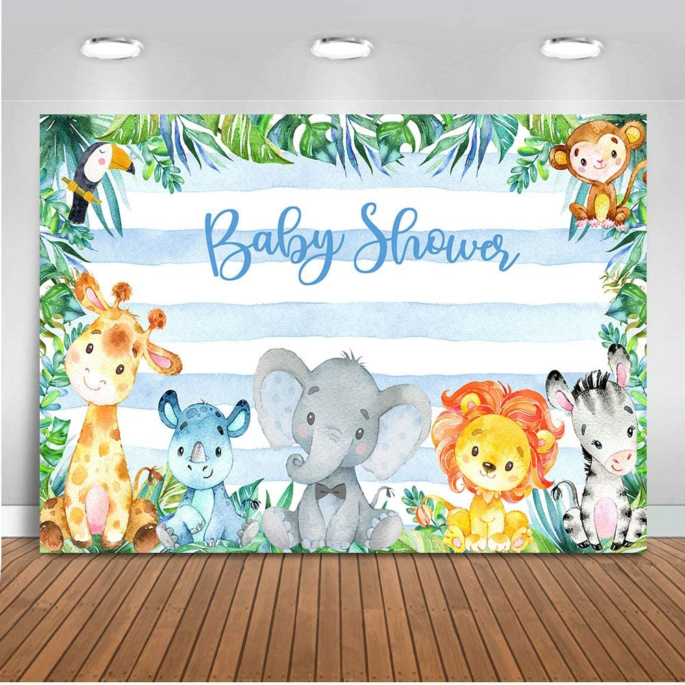 Mocsicka Safari Jungle Baby Shower Backdrop 7x5ft Soft Fabric Blue Stripe Jungle Safari Background Zoo Party Jungle Animals Baby Shower Photography Backdrops