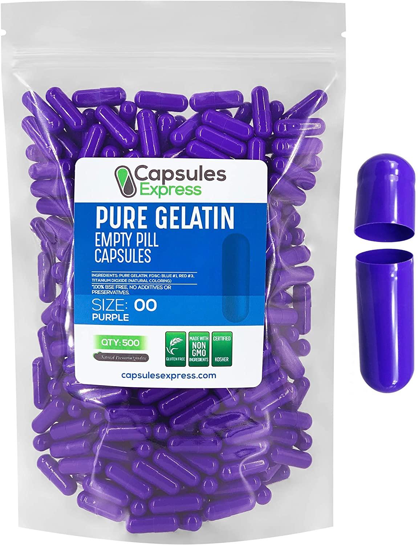 Capsules Express- Size 00 Purple Empty Gelatin Capsules 500 Count - Kosher and Halal - Pure Gelatin Pill Capsule - DIY Powder Filling