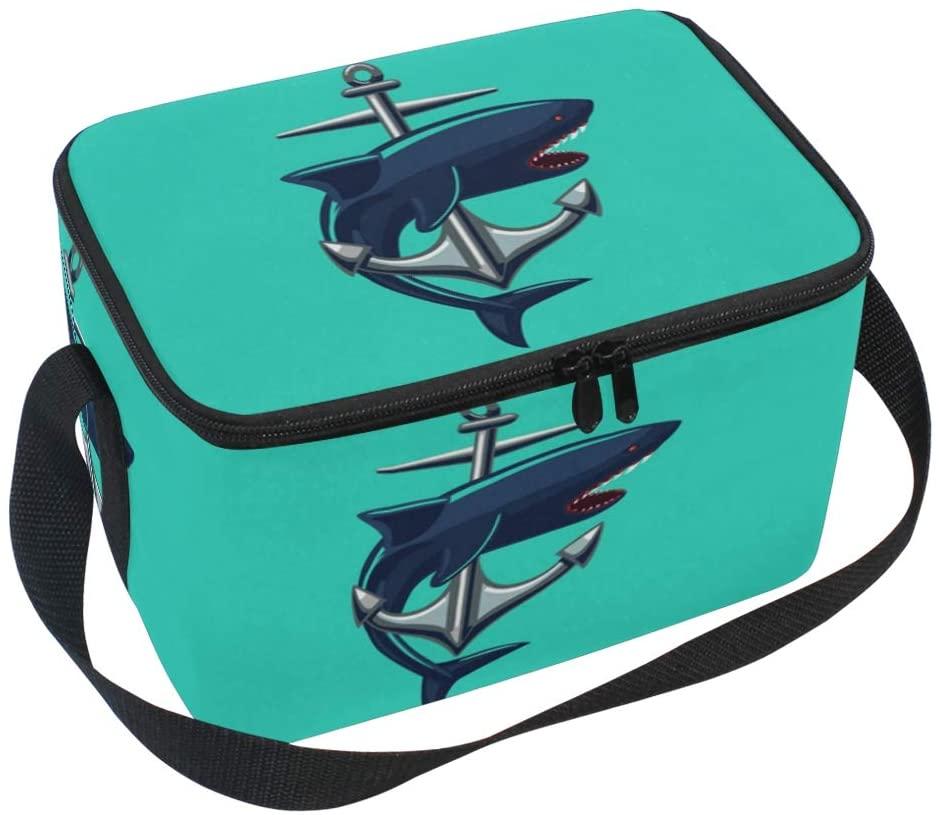 JOYPRINT Lunch Box Bag, Ocean Sea Shark Anchor Insulated Cooler Ice Lunchbox Tote Bag for Women Men Boys Girls
