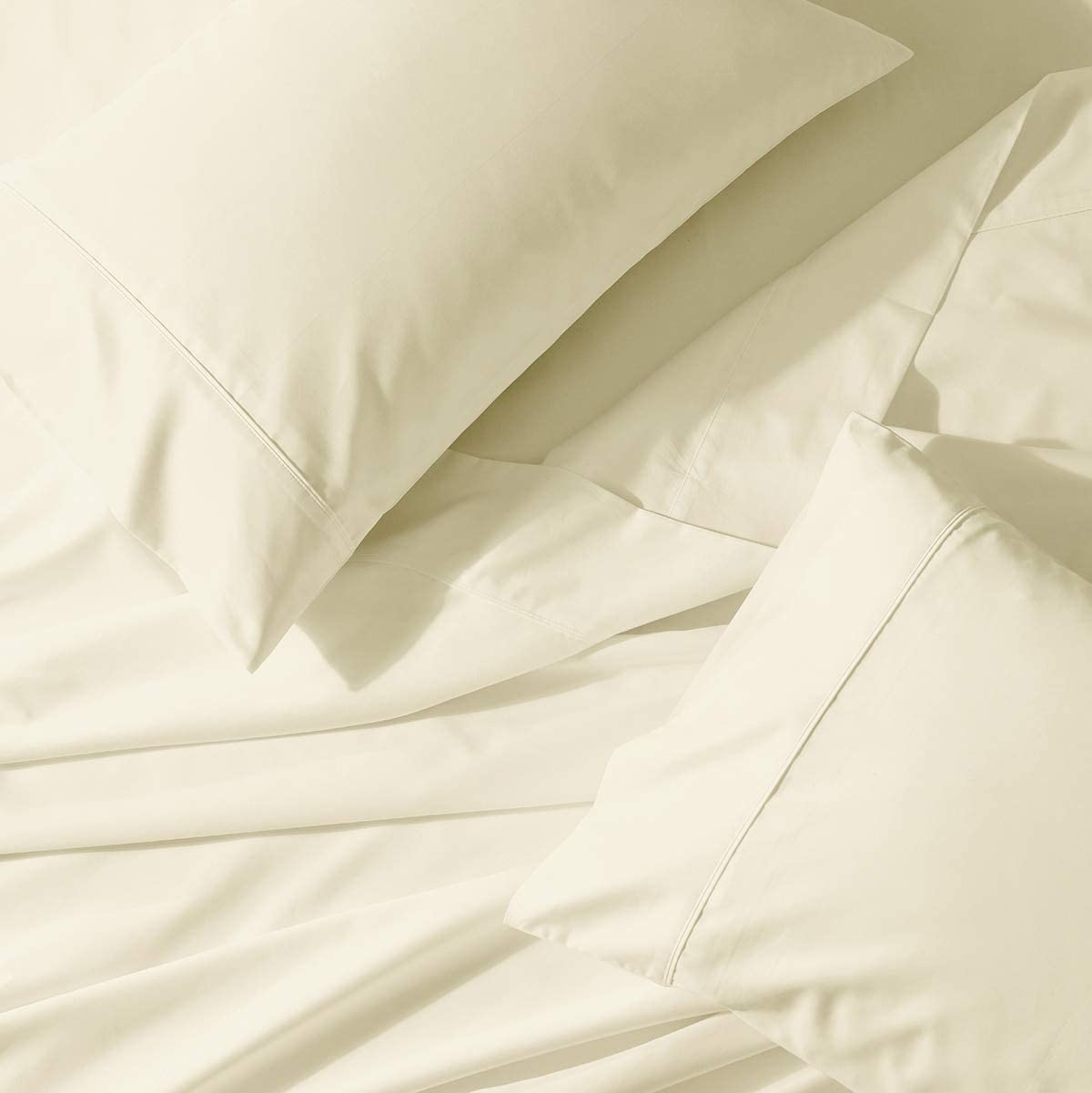 Abripedic 22 Inch Deep Pocket Solid Ivory Queen 300TC Sheet Set, Breathable Crispy Soft Percale Bed Sheets
